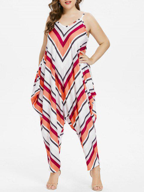 Plus Size Chevron Baggy Jumpsuit - multicolor L