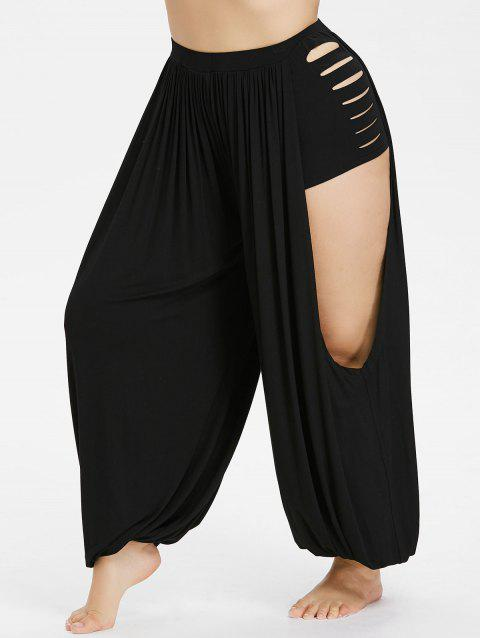 Plus Size Cut Out Shredding Harem Pants - BLACK 5X