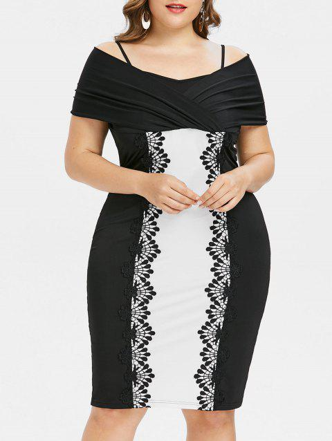 Plus Size Lace Trim Shoulder Baring Dress - BLACK 4X