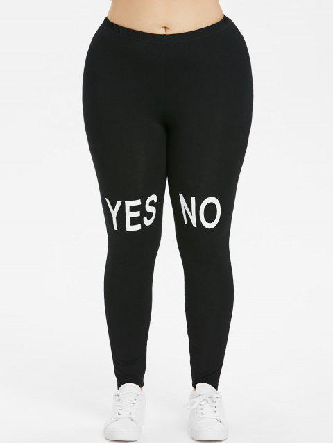 Plus Size Knee Letter Print Leggings - BLACK 3X