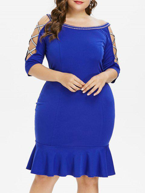 Plus Size Criss Cross Boat Neck Mermaid Dress - BLUE 5X