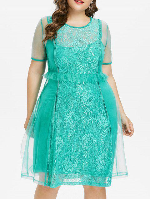 Plus Size Lace Panel Flounced Mesh Dress - MEDIUM TURQUOISE 4X