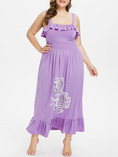 Plus Size Floral Smocked Waist Maxi Dress - PURPLE 1X