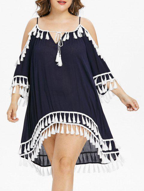 Plus Size Tie Front Tassel Cover Up Dress - DEEP BLUE 5X