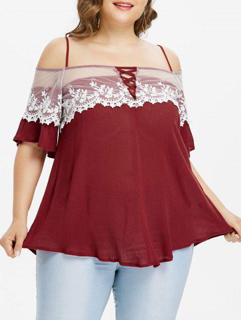 Plus Size Scalloped Lace Trim Slip Blouse - RED WINE 4X