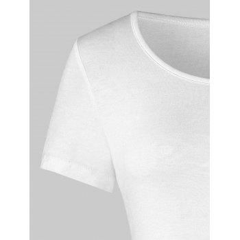 Color Block Lace Insert Flounce Tee - WHITE M