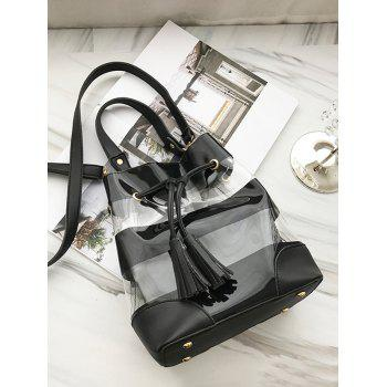 2 Pieces Transparent Crossbody Bag - BLACK