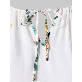 Keyhole Floral Cami Top - WHITE M