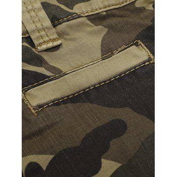 Camo Print Flap Pocket Cargo Shorts - DIGITAL DESERT CAMOUFLAGE M