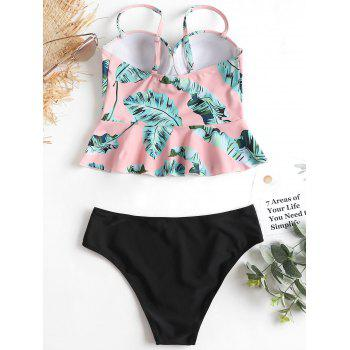 Push Up Leaves Print Peplum Tankini - LIGHT PINK XL