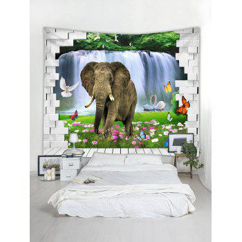 Elephant in Brick Wall Printed Wall Tapestry Art - multicolor W59 INCH * L59 INCH