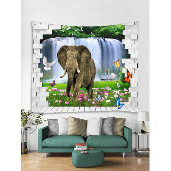 Elephant in Brick Wall Printed Wall Tapestry Art - multicolor W79 INCH * L59 INCH