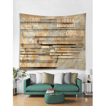 Letter World Map Stone Wall Print Wall Tapestry Art - multicolor W59 INCH * L51 INCH