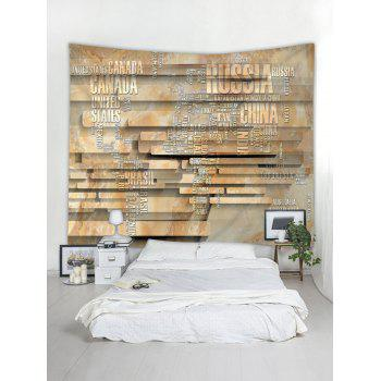 Letter World Map Stone Wall Print Wall Tapestry Art - multicolor W79 INCH * L71 INCH