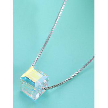 Unique Square Crystal Decorative Wedding Anniversary Necklace - SILVER
