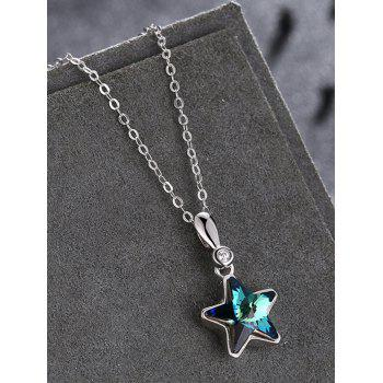 Crystal Star Rhinestone Wedding Gift Pendant Necklace - OCEAN BLUE