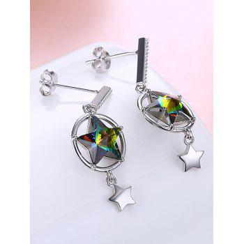 Pair of Rhinestone Crystal Star Drop Earrings - GREEN