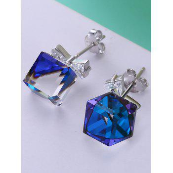 Pair of Crystal Bowknot Square Decorative Stud Earrings - BLUE