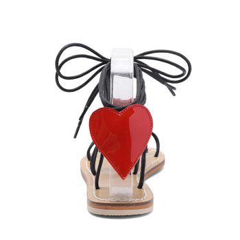 Heart Detail Rope Wrapped Flat Sandals - BLACK 35
