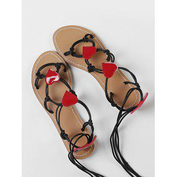 Heart Detail Rope Wrapped Flat Sandals - BLACK 36
