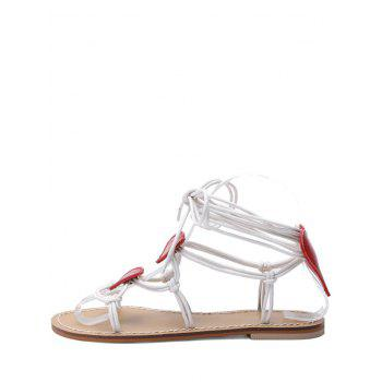 Heart Detail Rope Wrapped Flat Sandals - WHITE 40