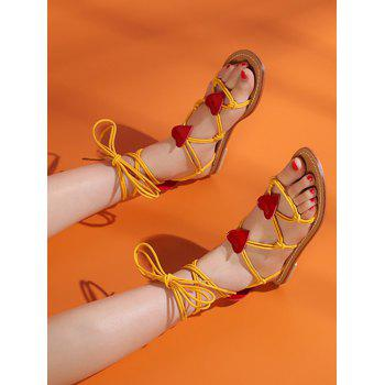 Heart Detail Rope Wrapped Flat Sandals - BRIGHT YELLOW 40