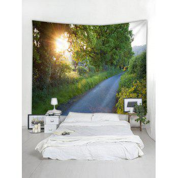 Sunlight Forest Path Print Tapestry Wall Art - SPRING GREEN W79 INCH * L59 INCH