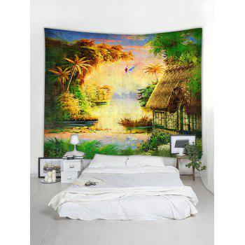Forest Thatching Print Tapestry Wall Art - multicolor W59 INCH * L59 INCH