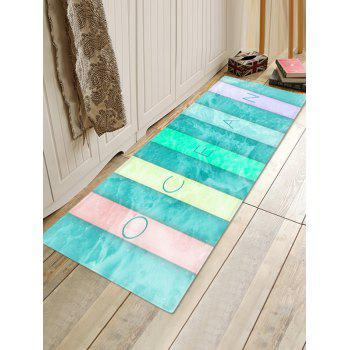 Colorful Letter Sea Wave Print Floor Rug - GLACIAL BLUE ICE W16 INCH * L47 INCH