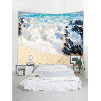 Beach Sea Spoondrift Print Wall Hanging Tapestry - BABY BLUE W79 INCH * L59 INCH
