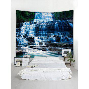 Waterfall Mountain Stone Print Wall Decor Tapestry - WINDOWS BLUE W59 INCH * L59 INCH