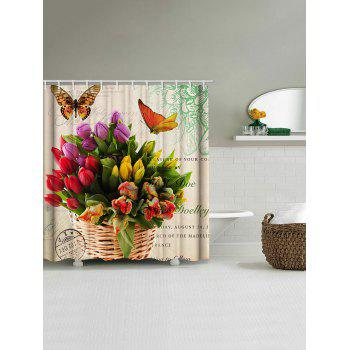 Butterfly and Flowers Print Waterproof Shower Curtain - multicolor W59 INCH * L71 INCH