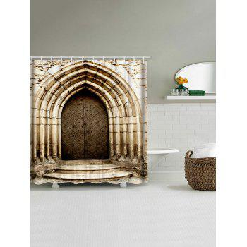 Stone House Door Print Waterproof Shower Curtain - multicolor W71 INCH * L71 INCH