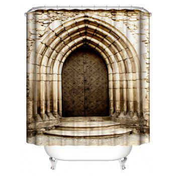 Stone House Door Print Waterproof Shower Curtain - multicolor W71 INCH * L79 INCH
