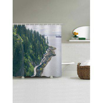Forest on the Sea Side Printed Waterproof Shower Curtain - SEA TURTLE GREEN W71 INCH * L79 INCH