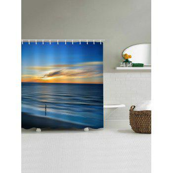Morning Peaceful Sea Level Beach Scenery Printed Waterproof Shower Curtain - ROYAL BLUE W71 INCH * L79 INCH