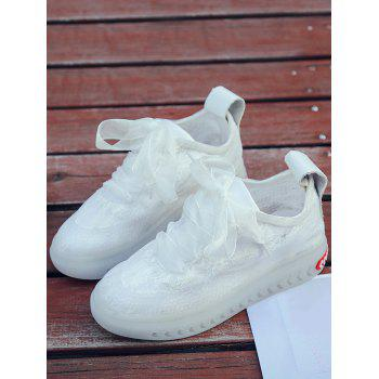 Lace Breathable Low Heel Skate Shoes - WHITE 36