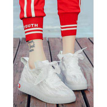 Lace Breathable Low Heel Skate Shoes - WHITE 38