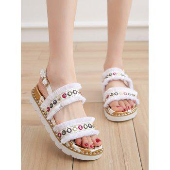 Color Block Eyelets Frayed Edge Buckle Strap Sandals - WHITE 38