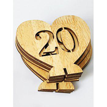 Number 1 to 20 Sign Wood Heart Wedding Decoration Set - BRIGHT YELLOW