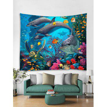 3D Dolphin Coral Reef Print Wall Decor Tapestry - OCEAN BLUE W59 INCH * L51 INCH