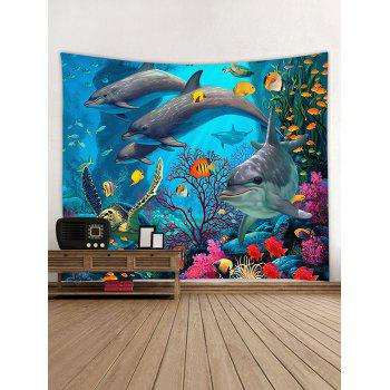 3D Dolphin Coral Reef Print Wall Decor Tapestry - OCEAN BLUE W79 INCH * L59 INCH