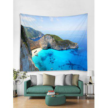 Mountain Top Sea Print Tapestry Wall Hanging Decor - OCEAN BLUE W59 INCH * L51 INCH