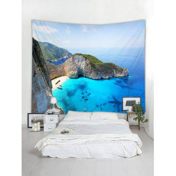 Mountain Top Sea Print Tapestry Wall Hanging Decor - OCEAN BLUE W79 INCH * L71 INCH