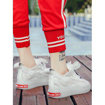 Lace Breathable Low Heel Skate Shoes - WHITE 39
