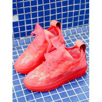 Lace Breathable Low Heel Skate Shoes - RED 38