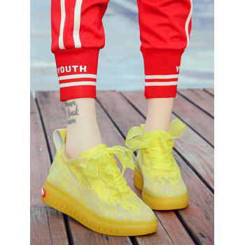 Lace Breathable Low Heel Skate Shoes - YELLOW 38