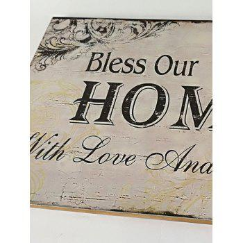 Wood Engraved Bless Home Sign Home Decoration - CORNSILK