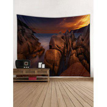 Sea Rock Sunset Printed Tapestry Wall Hanging Decoration - DEEP BROWN W59 INCH * L51 INCH