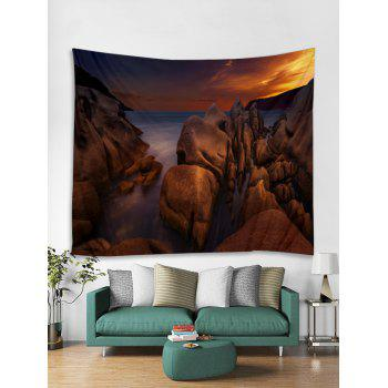 Sea Rock Sunset Printed Tapestry Wall Hanging Decoration - DEEP BROWN W59 INCH * L59 INCH